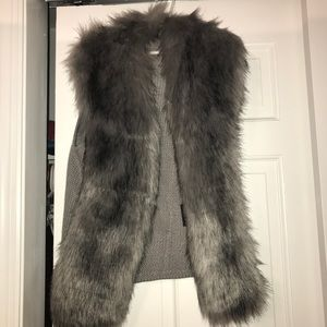 Gray fur vest- worn only once